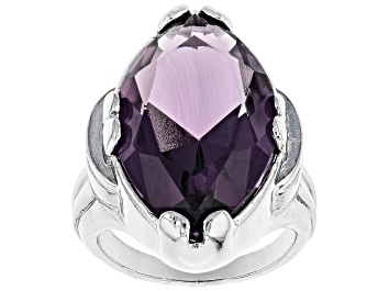 Picture of Purple Crystal Silver Tone Solitaire Ring