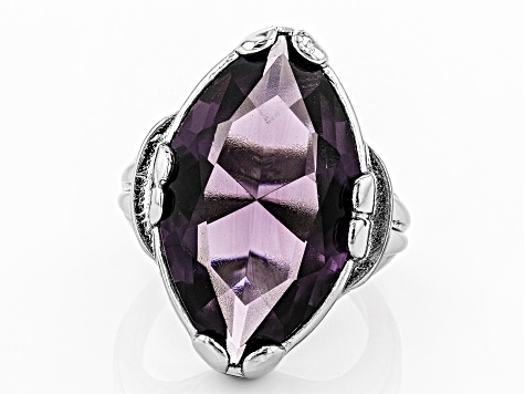 Purple Crystal Silver Tone Solitaire Ring