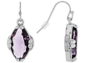 Purple Crystal Silver Tone Dangle Earrings