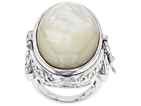 White Mother Of Pearl Rhodium Over Brass Prayer Box Ring