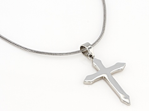 Silver Tone Cross Pendant With 30