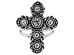 Oxidized Rhodium Over Brass Filigree Cross Ring