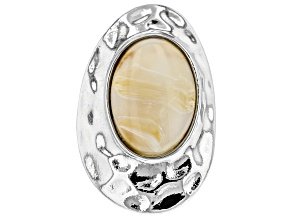 Cream Color Acrylic Stone Silver Tone Hammered Solitaire Ring