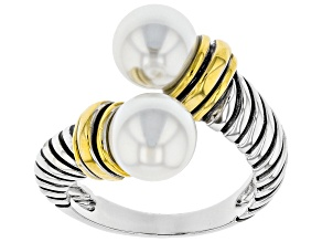 White Pearl Simulant Two Tone Bypass Ring