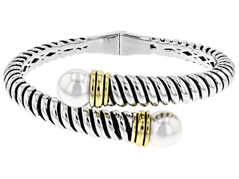 White Freshwater Pearl Simulant Two Tone Bypass Bracelet