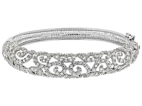 White Crystal Silver Tone Bangle Bracelet