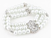 Freshwater Pearl Simulant And Cubic Zirconia Rhodium Over Brass Stretch Bracelet 1.64ctw