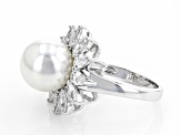 Freshwater Pearl Simulant & 3.06ctw White Cubic Zirconia Rhodium Over Brass Ring