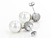 Freshwater Pearl Simulant Cubic Zirconia Rhodium Over Brass Earrings 2.84ctw