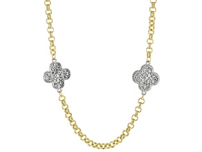 White Crystal Two-Tone Floral Endless Strand Station Necklace