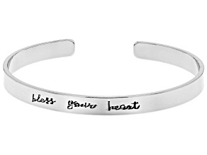"""Bless Your Heart"" Silver Tone Cuff Bracelet"
