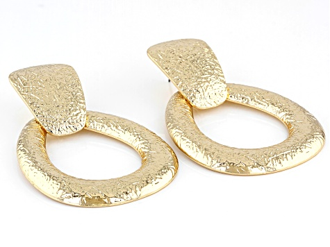 Gold Tone Textured Dangle Earrings