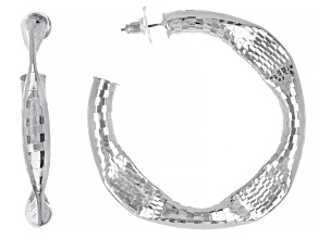 Silver Tone Hammered Hoop Earrings