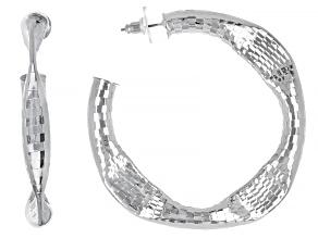 Silver Tone Hammered Hoop Earrings