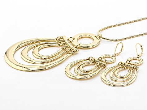 Gold Tone Statement Necklace And Dangle Earrings Set