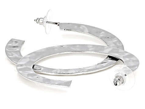 Hammered Silver Tone Hoop Earrings