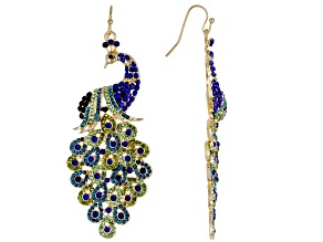 Green And Blue Crystal Gold Tone Peacock Earrings