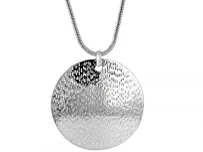 "Silver Tone Hammered Medallion Pendant With 35"" Chain"