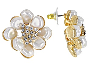 Pearl Simulant And White Crystal Gold Tone Starburst Earrings