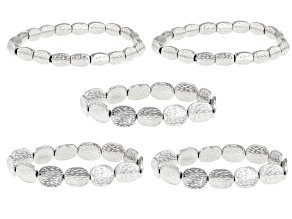 Silver Tone Hammered Stretch Bracelet Set Of Five