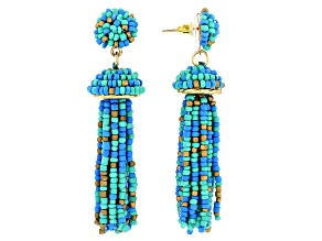 Blue, Green, and Gold Beaded Dangle Tassel Gold Tone Earrings