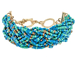 Blue, Green, and Gold Beaded Gold Tone Bracelet
