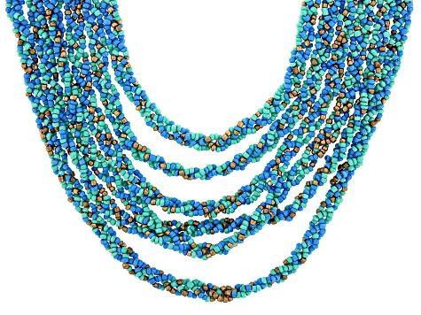 Multi stranded golden tone necklace