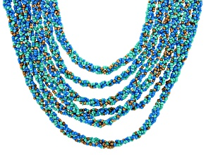 Blue, Green, and Gold Beaded Multi Strand Gold Tone Necklace