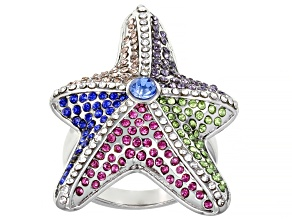 Silver Tone Multi Color Crystal Starfish Ring