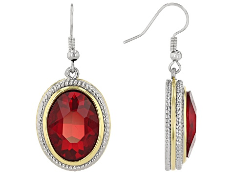 Two Tone Red Crystal Dangle Earrings