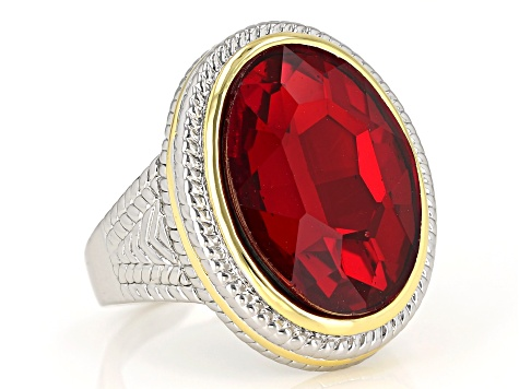Two Tone Red Crystal Solitaire Ring
