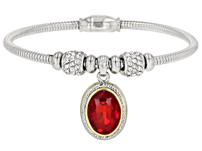 Two Tone Red Crystal with White Crystal Bracelet