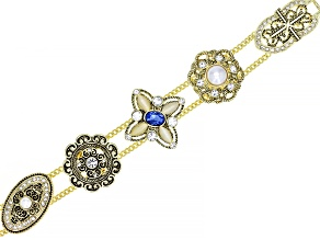 Gold Tone Multi Color Crystal Floral Slide Bracelet