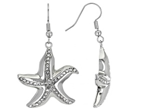Silver Tone White Crystal Starfish Dangle Earrings