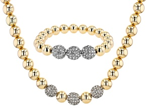 Gold Tone White Crystal Bracelet and Necklace Set