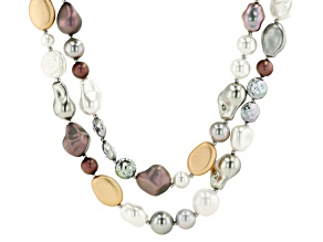 Multi Color Double Strand Pearl Simulant Necklace