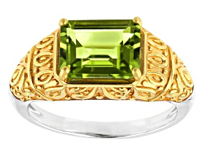 Green Peridot 18k Yellow Gold Over Sterling Silver Two-Tone Ring 2.00ct