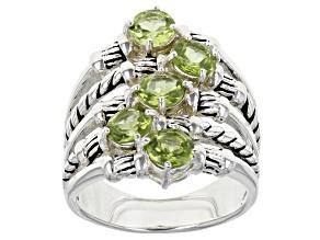 Green Peridot Silver Tone Multi Row Ring 2.13ctw