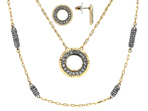 White Crystal, Two Tone Convertible Necklace and Earrings Set