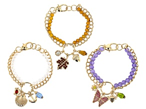 "Multi Color Crystal Gold Tone ""Seasons"" Set of 3 Charm Bracelets"