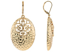 18k Yellow Gold Over Brass Textured Dangle Earrings
