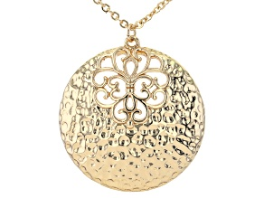 18k Yellow Gold Over Brass Textured Round Pendant with Chain