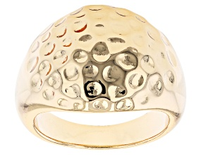 18k Yellow Gold Over Brass Textured Dome Ring