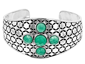 Green Onyx Rhodium Over Sterling Silver Honeycomb Cuff Bracelet