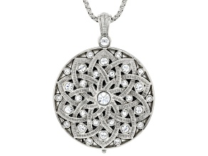 White Crystal Silver Tone Mirror Pendant with Chain