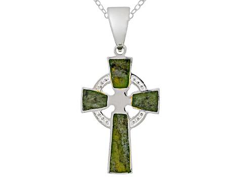 Connemara marble sterling silver celtic cross pendant pmh097 jtv connemara marble sterling silver celtic cross pendant aloadofball Choice Image