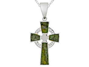 Connemara Marble Sterling Silver Celtic Cross Pendant