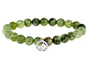 Connemara Marble Bead Silver Stretch Bracelet
