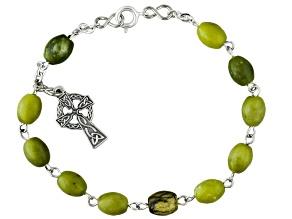 Connemara Marble Silver Over Brass Rosary Bracelet