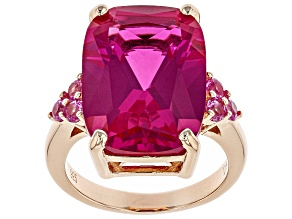 Pink lab created sapphire 18k rose gold over silver ring 15.37ctw